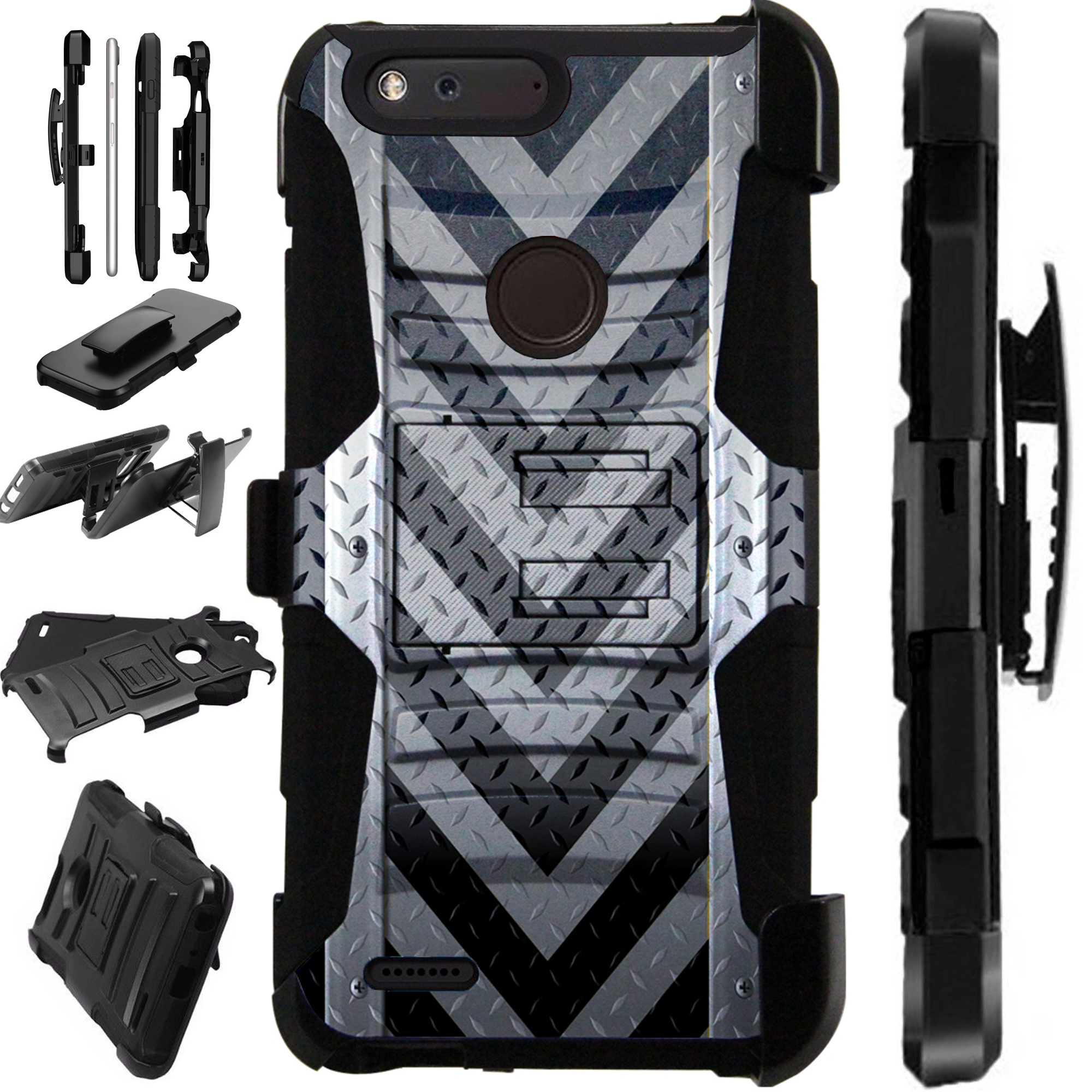 For ZTE Blade X Case Hybrid Phone Cover LuxGuard Holster (Gray Arrow Crosshatch)