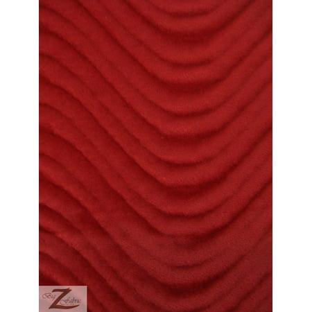 Wavy Swirl Flocking Velvet Upholstery Fabric / Ruby / Sold By The Yard