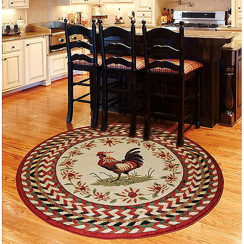 Orian Rooster Braid Rouge Area Rug