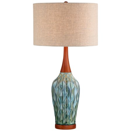 360 Lighting Rocco Blue Ceramic Mid Century Table Lamp With Table Top Dimmer Walmart Com Walmart Com