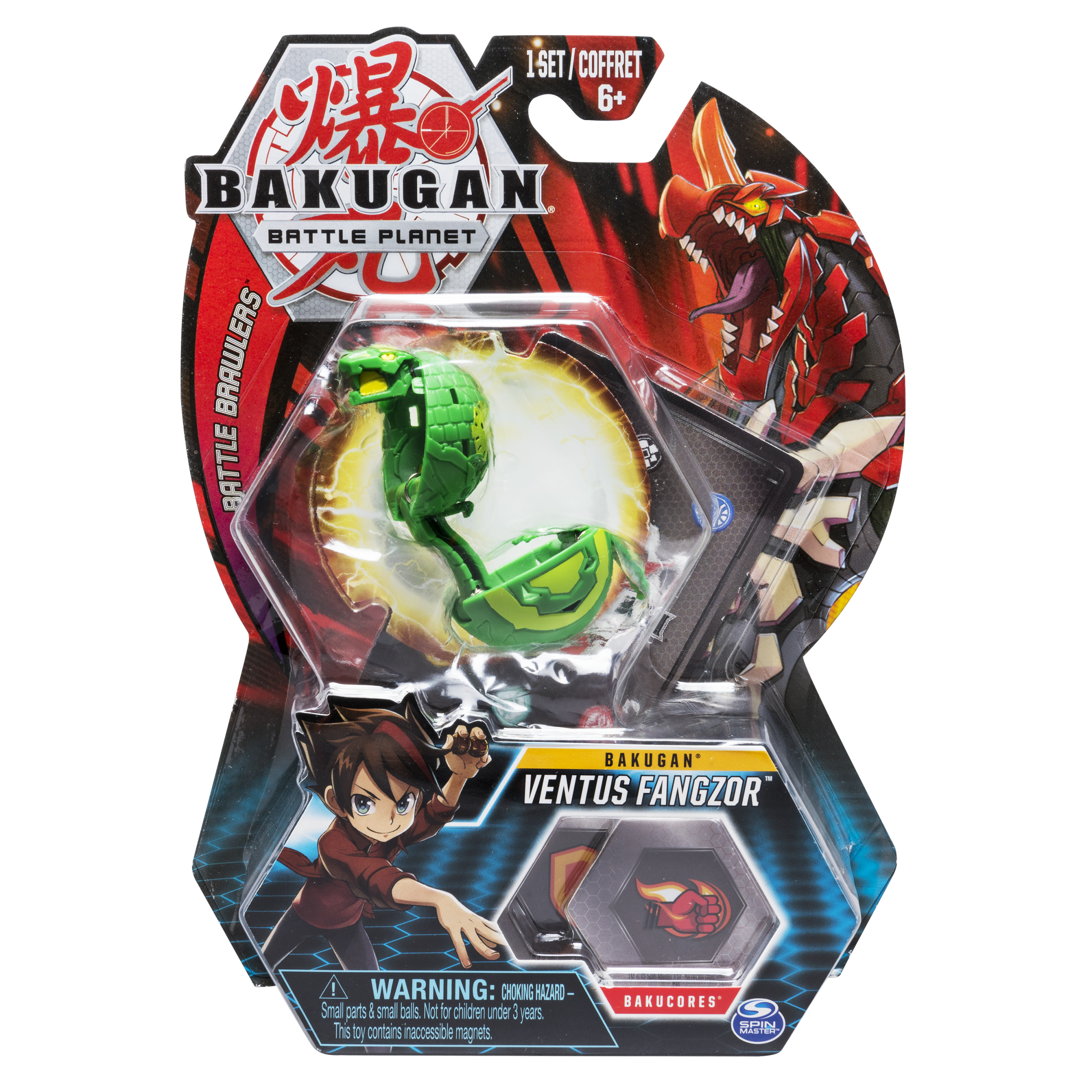 Bakugan, Ventus Fangzor, 2-inch Tall Collectible Action Figure and Trading Card, for Ages 6 and Up