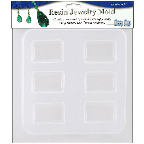 """Resin Jewelry Reusable Plastic Mold, 6-1/2"""" x 7"""", Rectangles, 6 Shapes"""