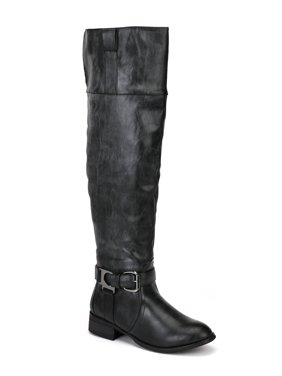 646256a86d7 Product Image Nature Breeze Olympia-05 New Women Leatherette Buckle Round  Toe Thigh High Boot