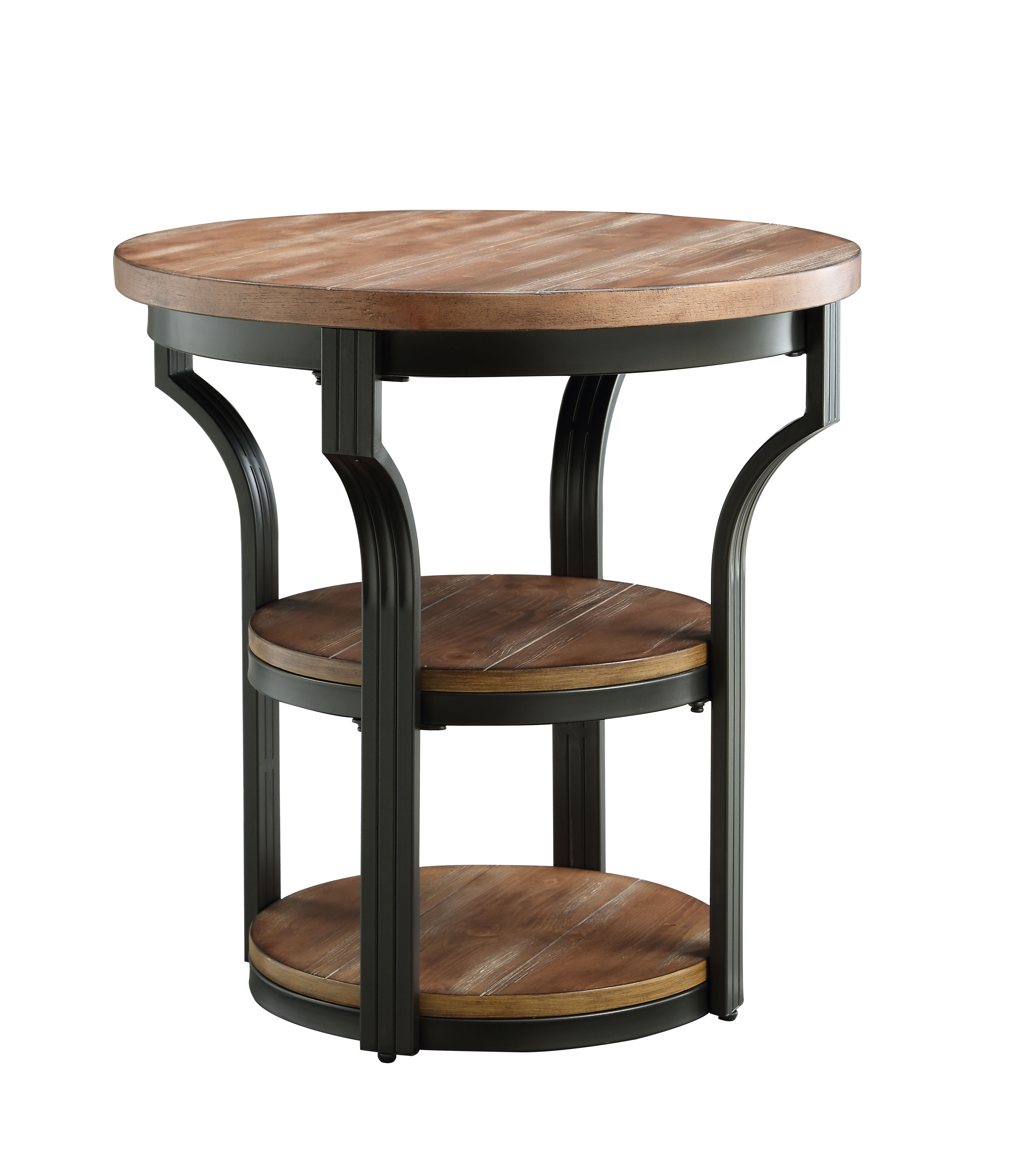 ACME Geoff End Table (2 Shelves), Oak & Black by Acme Furniture
