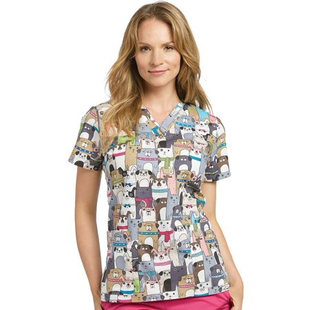 Allure by White Cross Women's V-Neck Dog Print Scrub Top