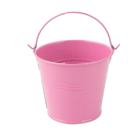 Household Metal Bucket Shaped Plant Planter Holder Flower Pot Decoration Pink for Christmas ()