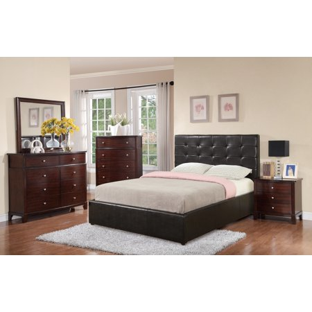 Espresso Upholstery - Modern Espresso Tufted Upholstery High Headboard Design Storage Queen Size Bed w Matching Dresser Mirror Nightstand