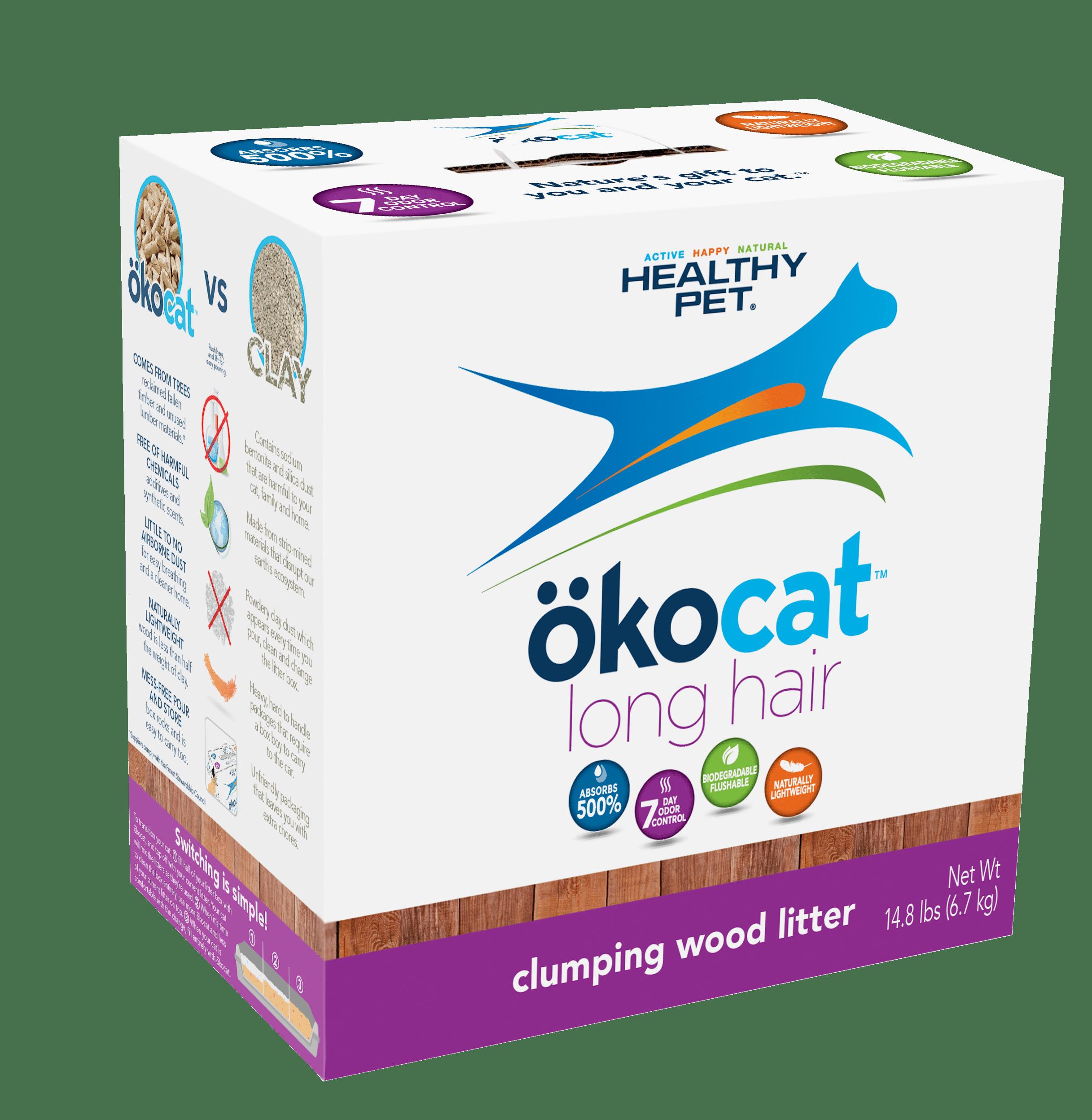 Okocat Long Hair Breeds Clumping Wood Cat Litter, 14.8-lb