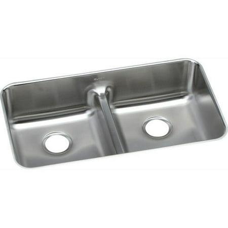 Elkay ELUHAQD3218 Gourmet Undermount 32 in. x 18-1/2 in. Dual Basin Kitchen Sink (Stainless Steel)