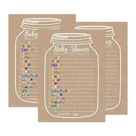 25 Kraft Mason Jar Baby Shower Emoji Game ()