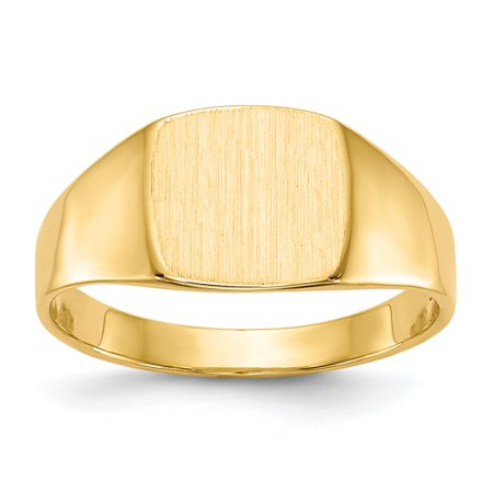14k Yellow Gold 8.5x9.0mm Closed Back Signet Band Ring Size 7.00 Man Gift For Dad Mens For Him