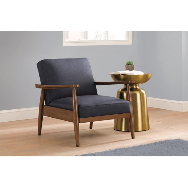Better Homes and Gardens Mid-Century Upholstered Wood Accent Chair - Blue Linen