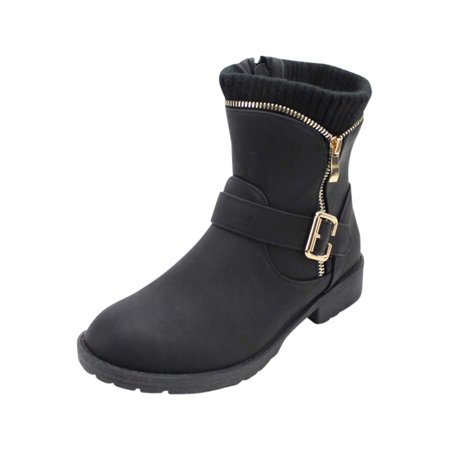 Cuff Flat Boot (Black Flat Cuffed Zip Up Boots For)