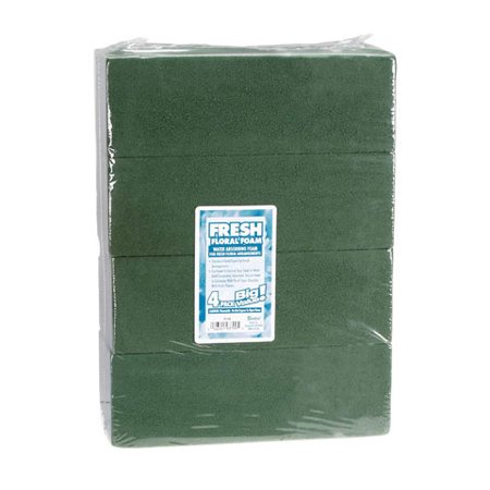 Big Value Green Fresh/Wet Floral Foam: 3 x 4 x 9 inch Blocks, 4 pack - Crafting Foam