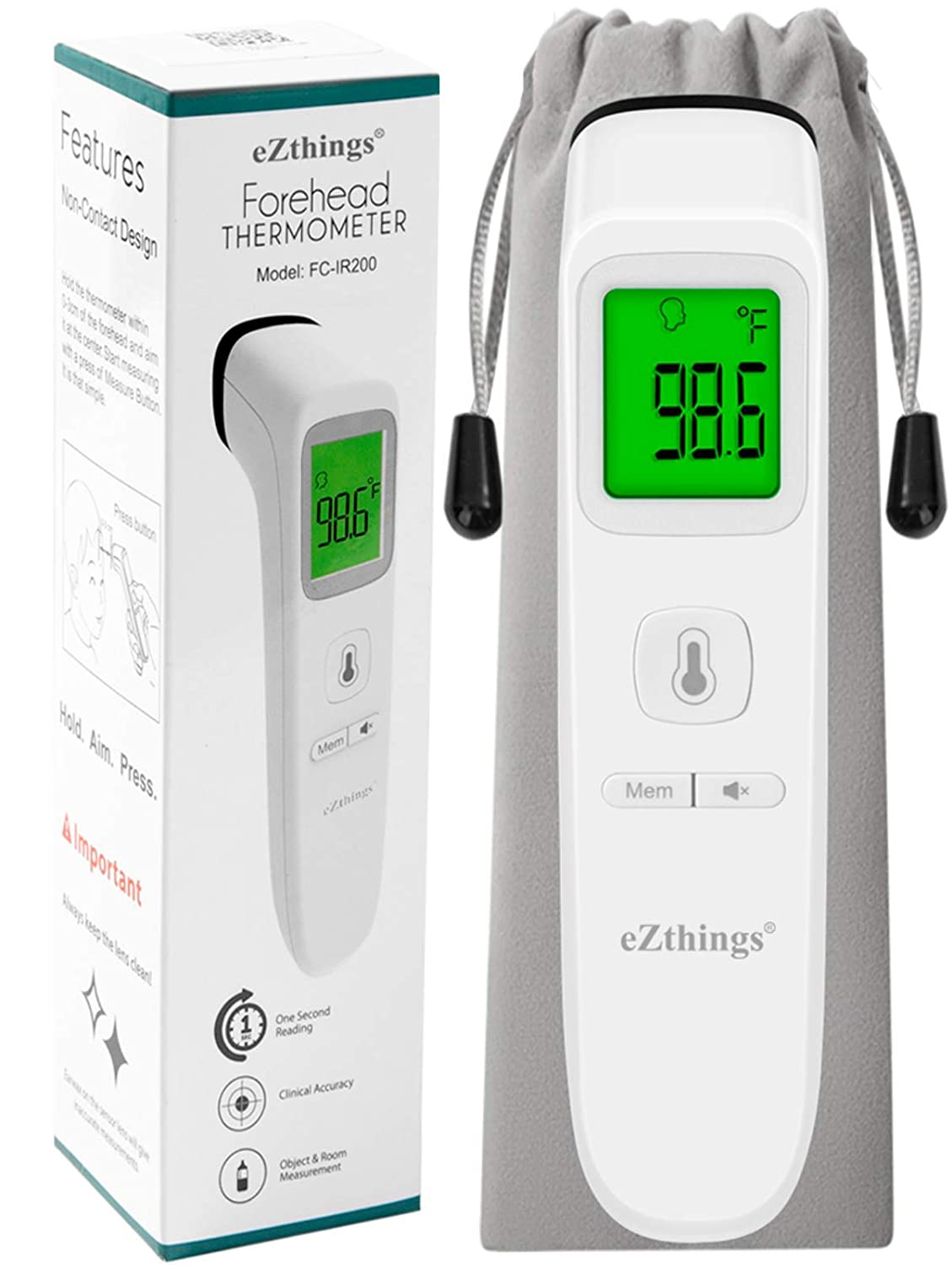 Hospitals eZthings Heavy Duty LCD Display Non-Contact Infrared Forehead Thermometer for Medical Offices White, Heavy Duty