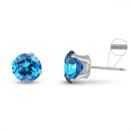 Round 8mm 14k White Gold Genuine Swiss Blue Topaz 4.5 cttw Stud Earrings, December - Gold Turquoise Stud