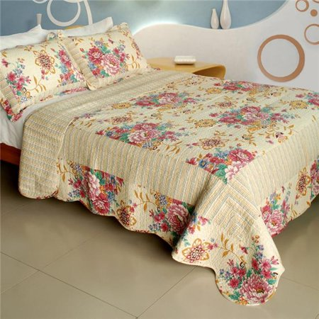Blancho Bedding WB8030-23 Girl Memories - 100 Percent Cotton, 3 Pieces Vermicelli-Quilted Patchwork Quilt Set, Full & Queen Size - Beige ()
