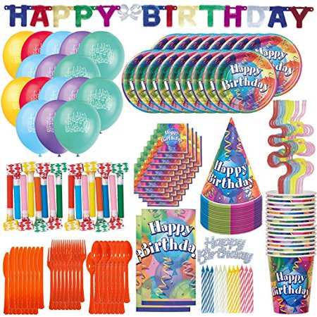 Birthday Party Kit for 16 - 200 PIECES - Plates, Cups, Spoons, Forks, Knives, Squiggle Straws, Napkins, Tablecloth, Birthday Banner, Birthday Hats, Balloons, Blowouts, Cake Topper, - Party Tablecloths And Napkins