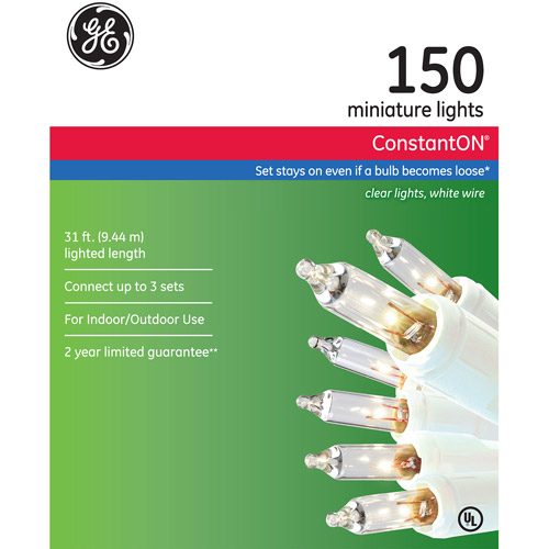GE ConstantON Clear Christmas Lights, 150 Count