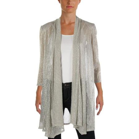 Crinkled Womens Jacket - R&M Richards Womens Crinkled Metallic Topper Jacket