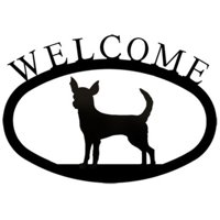 Village Wrought Iron WEL-240-S Welcome Sign-Plaque - Chihuahua - Dog
