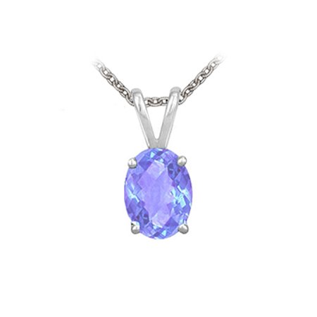 Oval Shaped Created Tanzanite Pendant Necklace in Sterling Silver. 1ct.tw. - image 1 de 2