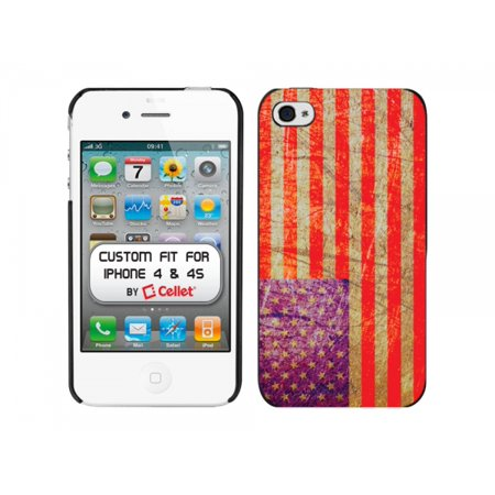 Cellet Black Proguard with Flag of USA Vintage for Apple iPhone 4 & 4S (Vintage Iphone 4s)