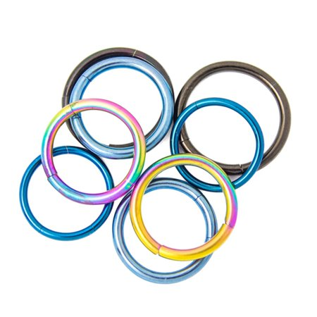Black Titanium Segment Rings - Seamless Segment Rings - 4 Pairs Anodized Titanium - Perfect for Eyebrow, Lip, Nose, Tragus Piercings