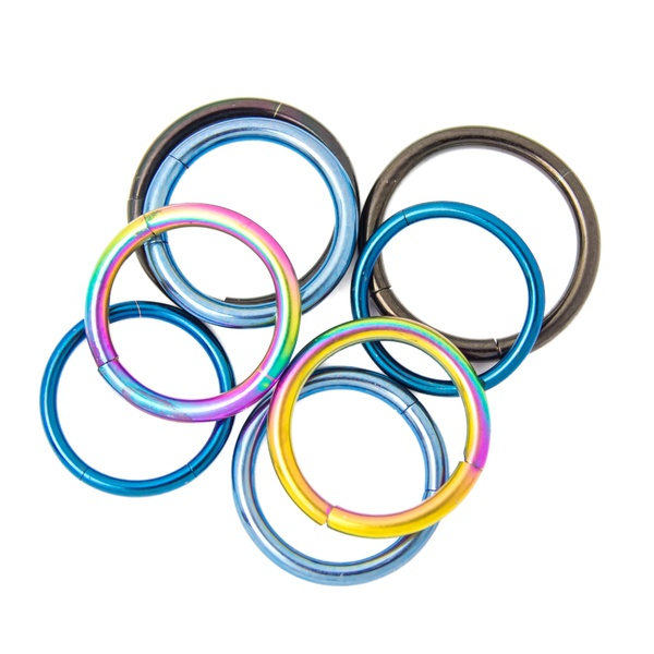 Seamless Segment Rings - 4 Pairs Anodized Titanium - Perfect for Eyebrow, Lip, Nose, Tragus Piercings