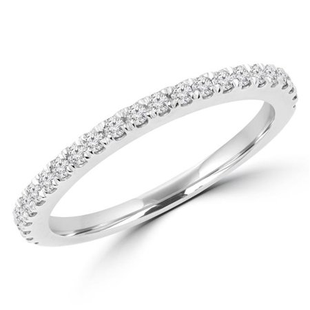 Majesty Diamonds MD170327-9 Alliance demi--ternit- avec diamants ronds de 0,25 ct en or blanc de 14 carats, taille 9 - image 1 de 1