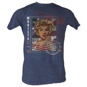 Marilyn Monroe Men's  Marilyn Stamp Slim Fit T-shirt Navy Heather