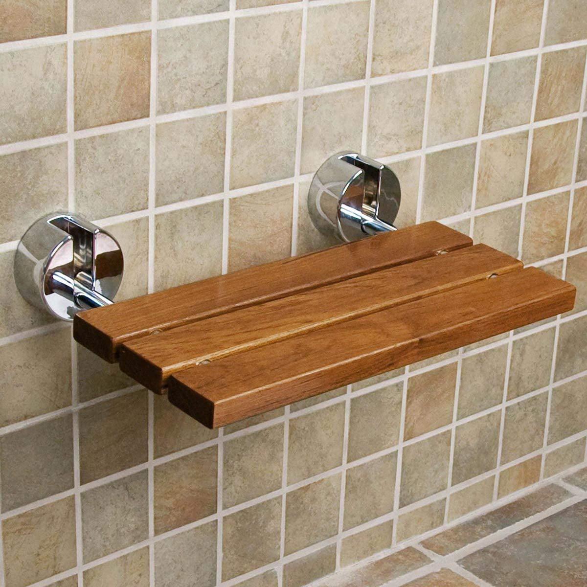 Clevr 20 Teak Modern Folding Shower Seat Bench Dark Wood Medical Wall Mount Walmart Com Walmart Com