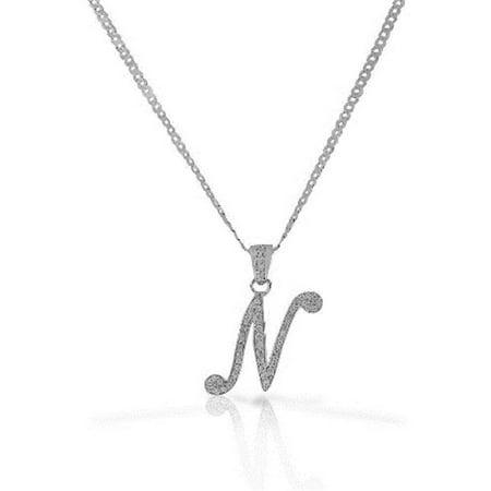 elizabeth jewelry letter cz pd n letter n cursive initial cz pendant