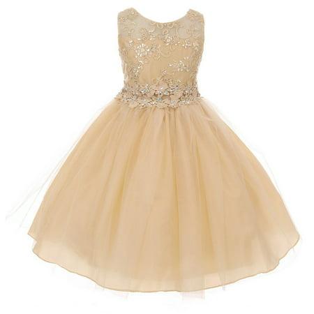 Little Girls Embroidered Rhinestone Ribbon Junior Bridesmaid Flower Girl Dress Champagne Size 2 (G3592G) (Champagne Flower Girl Dress)