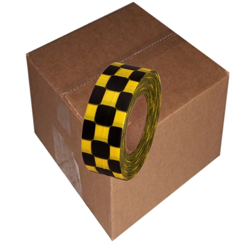 12 Roll Case of Yellow and Black Checkerboard Flagging Tape 1 3/16 inch x 300 ft Non-Adhesive