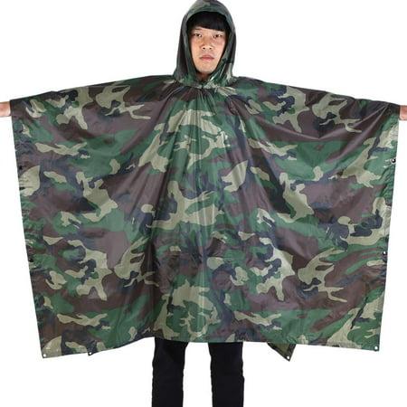 WALFRONT Waterproof Military Hooded Ripstop Rain Poncho Lightweight Reusable Hiking Rain Coat Jacket with Hood for Boys Men Women Adults for Military Camping Hiking (jungle digital (Best Light Rain Jacket Hiking)