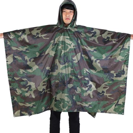 WALFRONT Waterproof Military Hooded Ripstop Rain Poncho Lightweight Reusable Hiking Rain Coat Jacket with Hood for Boys Men Women Adults for Military Camping Hiking (jungle digital camouflage)