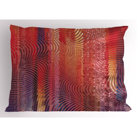 Abstract Pillow Sham Wavy Curvy Mosaic Design Pixelated Texture in Vibrant Colors Digital Art Print, Decorative Standard Queen Size Printed Pillowcase, 30 X 20 Inches, Multicolor, by Ambesonne