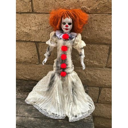 OOAK Pennywise IT Clown Girl One Eye Long Dress Creepy Horror Doll Art by Christie Creepydolls](Creepy Clown Dolls)