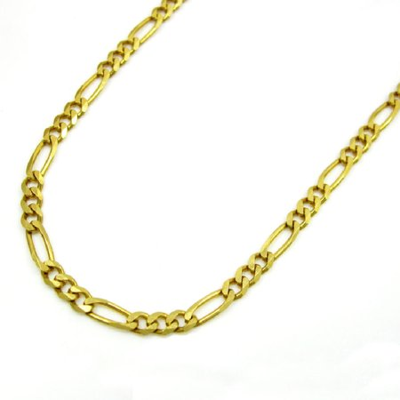 14K Yellow Gold Men Women's 1.25MM Classic Figaro Link Chain Necklace Lobster Clasp, 16 to 22 Inches ()