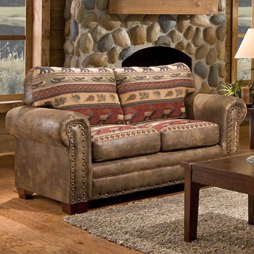 American Furniture Classics Sierra Mountain Lodge Printed Tapestry Loveseat