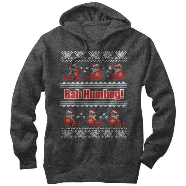 Grumpy Cat Men's Bah Humbug Ugly Christmas Sweater Hoodie