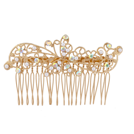 Leaf Comb - Lux Accessories Gold Tone AB Crystal Rhinestone Faux Pearl Flower Leaf Hair Comb