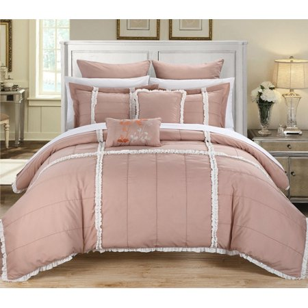 Legend Peach Amp White Queen 7 Piece Quilted Comforter Bed