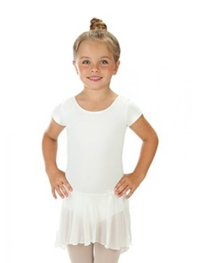 Elowel Girls' Ruffle Short Sleeve Skirted Leotard White (size-4-6 )