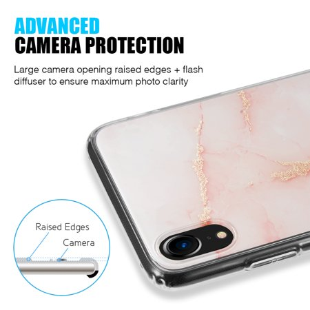 0099623b16 Luxmo Case for Apple iPhone Xr Shiny Orange Marble Design Clear Bumper  Matte TPU Soft Rubber Silicone Cover Phone Case Compatible with iPhone Xr  6.1 ...