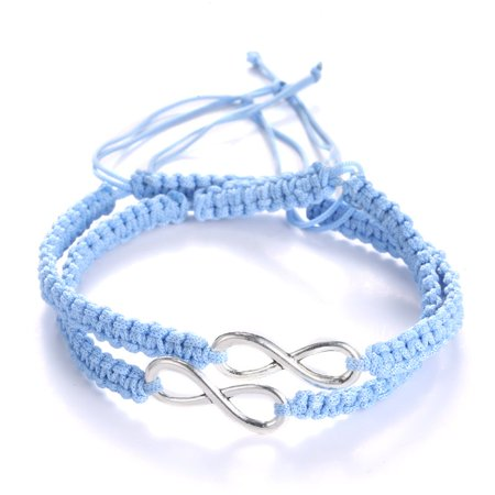 2Pcs 8 infinity Couple Braided Handcrafted Leather Luck Hand-knitted Bracelet Bangle Rope Adjustable Chain Fit 7-9 Inch Wrist
