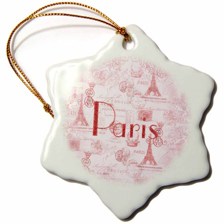 3dRose Image of Word Paris On French Pink And Red Background - Snowflake Ornament, 3-inch