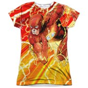 Jla - Lightning Dash - Juniors Cap Sleeve Shirt - Medium