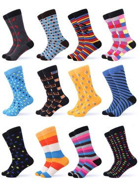 Gallery Seven Mens Dress Socks - Funky Colorful Socks for Men - 12 Pack - Swish Collection - 12 Pack